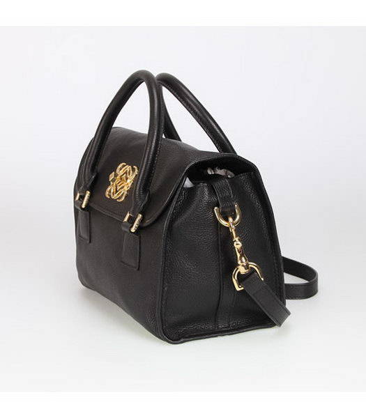 Loewe Small Tote Handbags Black Calfskin Veins Leather-1