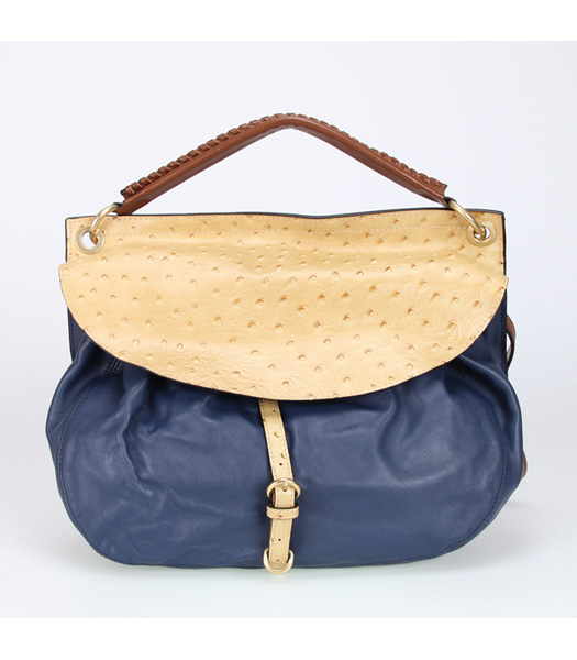 Miu Miu Blue Soft Leather with Apricot Ostrich Veins Tote Handbag
