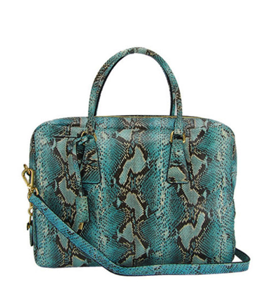 Prada Snake Veins Leather Tote Bag Blue