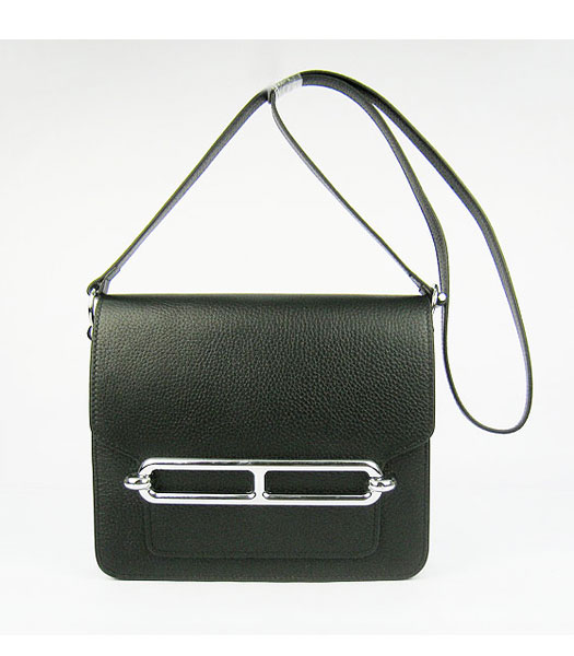 Hermes Black Togo Leather Small Messenger Bag with Silver