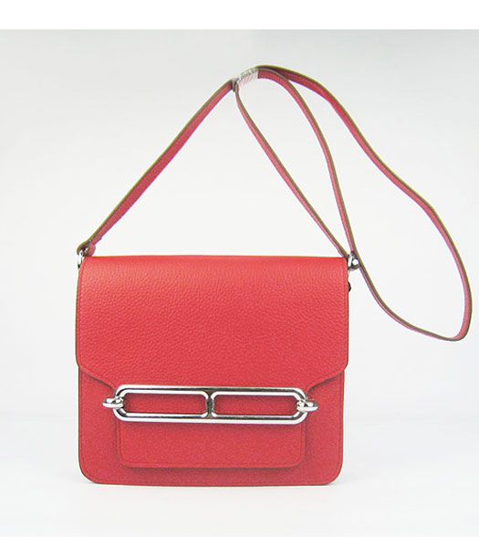 Hermes Red Togo Leather Small Messenger Bag with Silver