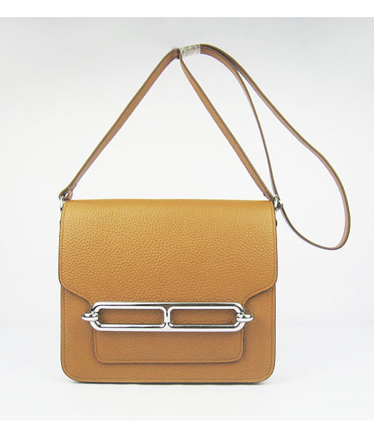 Hermes Light Coffee Togo Leather Small Messenger Bag with Silver