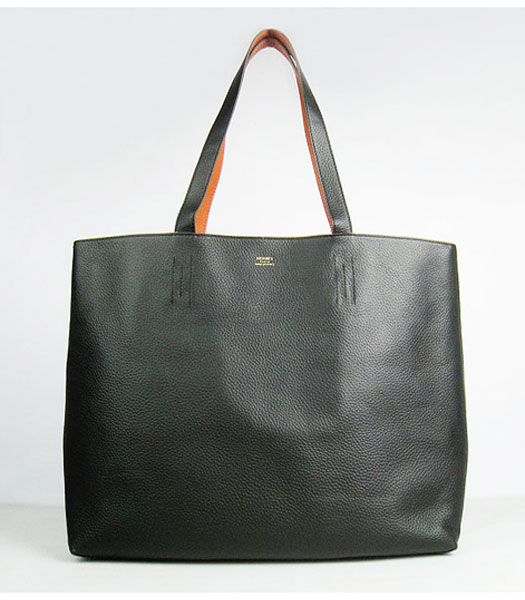 Hermes Large Embossed Calf Leather Shoulder Bag BlackOrange