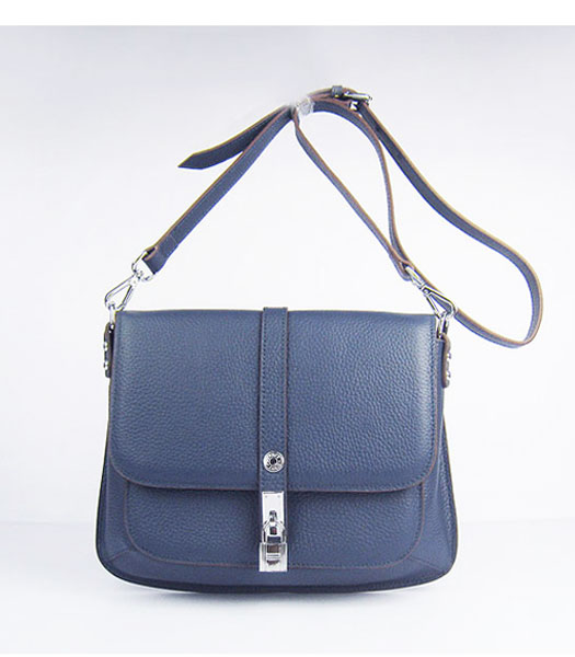 Hermes Jypsiere Togo Leather Small Messenger Bag in Dark Blue