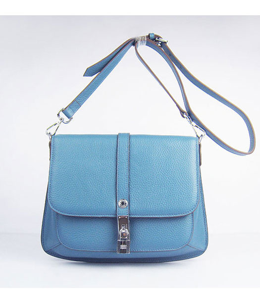 Hermes Jypsiere Togo Leather Small Messenger Bag in Blue