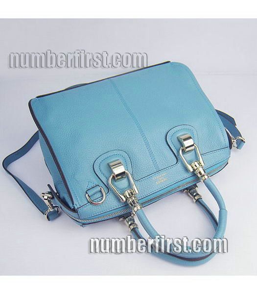 Hermes Double-duty Togo Leather Small Bag Light Blue-4