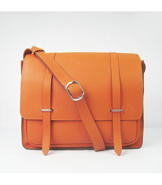 Hermes Steve Medium Togo Leather Messenger Bag Orange