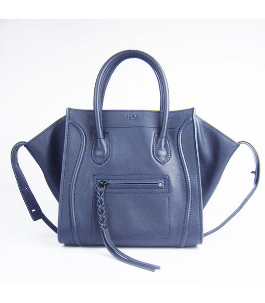 Celine Smile 26cm Dark Blue Original Leather Tote Handbag
