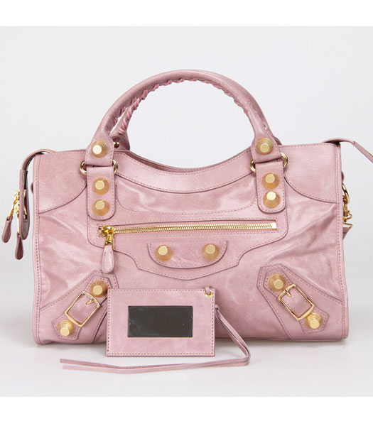 Balenciaga Motorcycle City Bag in Light Pink Oil Leather Gold Nails