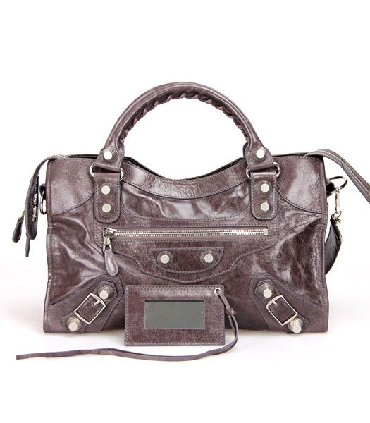 Balenciaga Motorcycle City Bag in Dark Grey Oil Leather Silver Nails