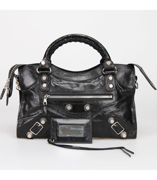 Balenciaga Motorcycle City Bag in Black Oil Leather Silver Nails