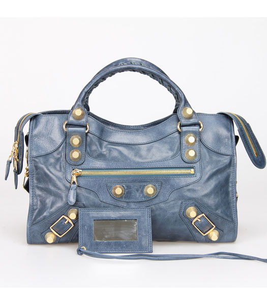 Balenciaga Motorcycle City Bag in Sapphire Blue Oil Leather Gold Nails