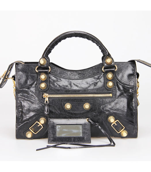 Balenciaga Motorcycle City Bag in Black Oil Leather Gold Nails