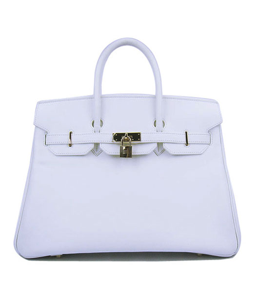 Hermes Birkin 35cm White Plain Veins Bag Golden Metal
