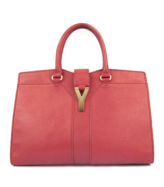 Yves Saint Laurent Goat Lambskin Leather Cabas Red Tote Bag