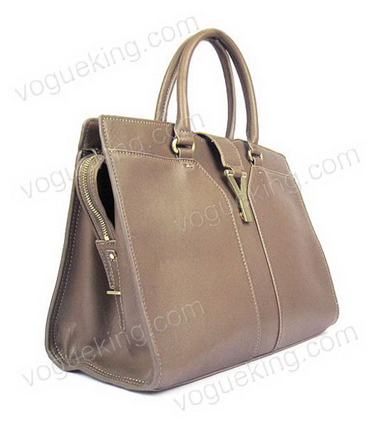 Yves Saint Laurent Goat Lambskin Leather Cabas Grey Tote Bag-1