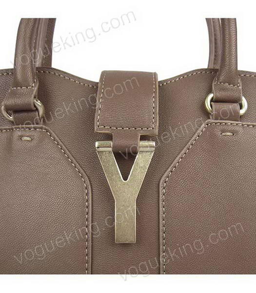 Yves Saint Laurent Goat Lambskin Leather Cabas Grey Tote Bag-5