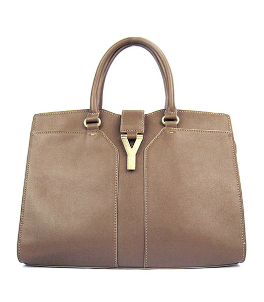Yves Saint Laurent Goat Lambskin Leather Cabas Grey Tote Bag