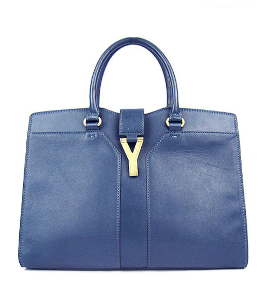 Yves Saint Laurent Goat Lambskin Leather Cabas Dark Blue Tote Bag