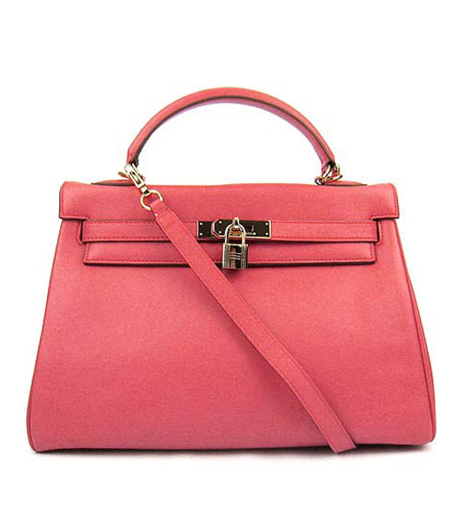 Hermes Kelly 32cm Watermelon Red Plain Veins Bag with Golden Metal