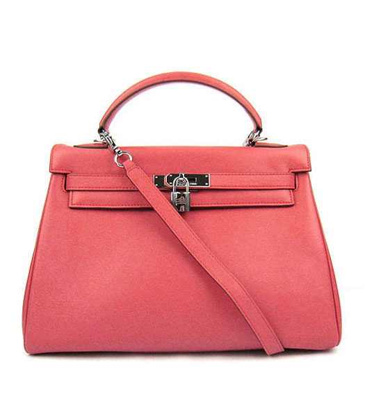 Hermes Kelly 32cm Watermelon Red Plain Veins Bag with Silver Metal