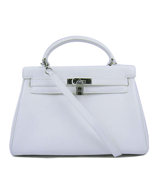 Hermes Kelly 32cm White Plain Veins Bag with Silver Metal