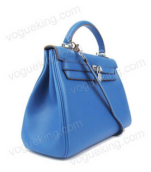 Hermes Kelly 32cm Middle Blue Plain Veins Bag with Silver Metal-1
