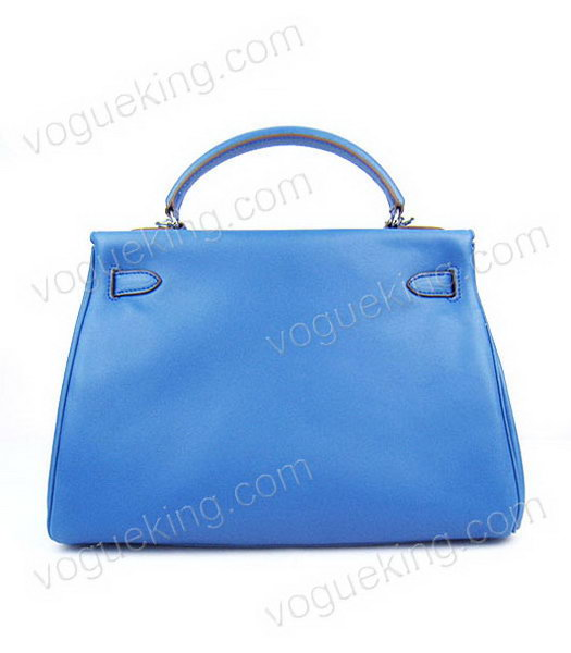 Hermes Kelly 32cm Middle Blue Plain Veins Bag with Silver Metal-2