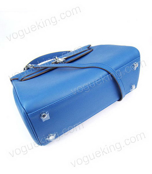 Hermes Kelly 32cm Middle Blue Plain Veins Bag with Silver Metal-3