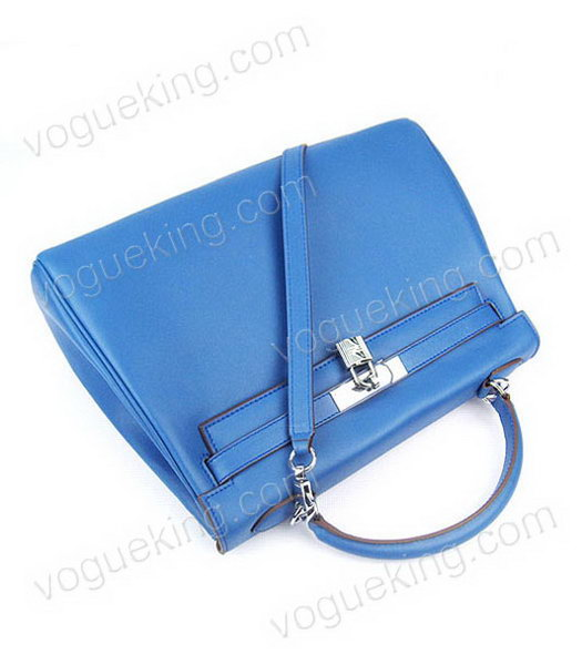Hermes Kelly 32cm Middle Blue Plain Veins Bag with Silver Metal-4