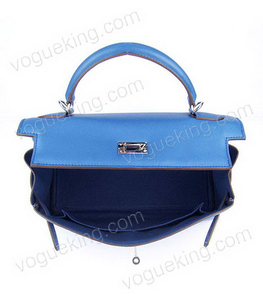 Hermes Kelly 32cm Middle Blue Plain Veins Bag with Silver Metal-5
