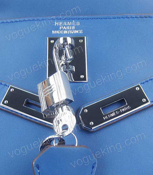Hermes Kelly 32cm Middle Blue Plain Veins Bag with Silver Metal-6