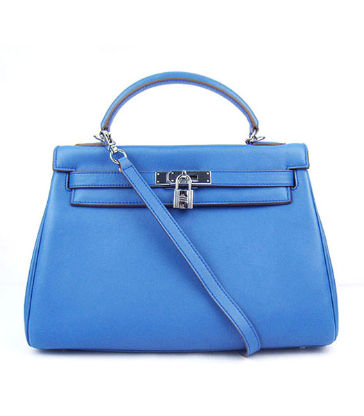 Hermes Kelly 32cm Middle Blue Plain Veins Bag with Silver Metal