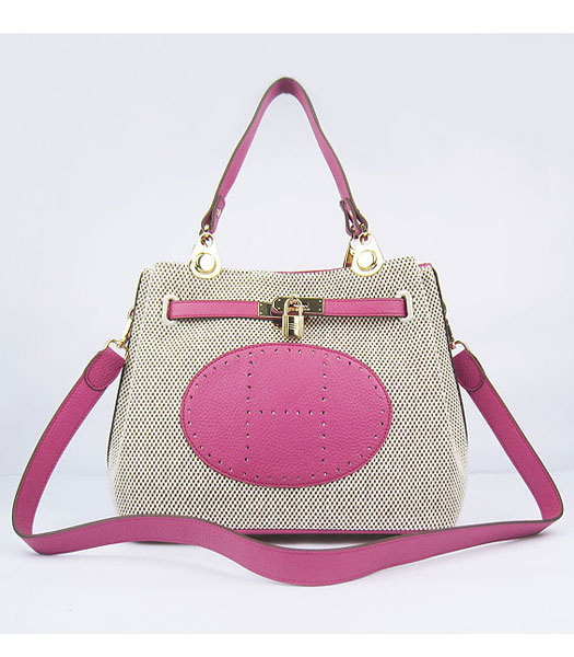 Hermes Mini So Kelly Bag Fabric with Peach Togo Leather Golden Metal