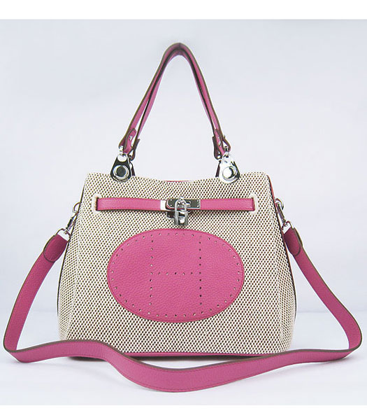 Hermes Mini So Kelly Bag Fabric with Peach Togo Leather Silver Metal