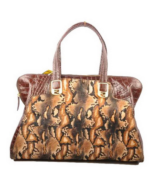 Fendi Peekaboo Coffee Python With Croc Veins Leather Handbag