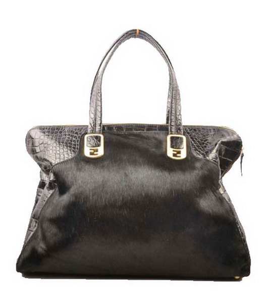 Fendi Peekaboo Black Horsehair With Croc Veins Leather Handbag