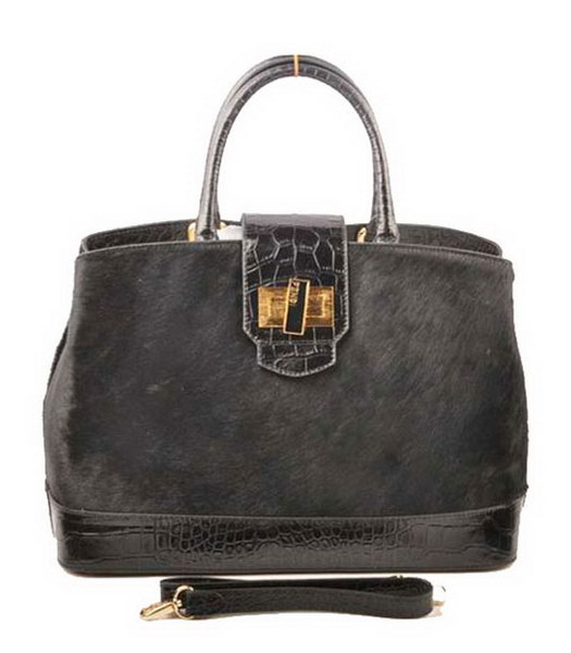 Fendi Black Horsehair With Croc Veins Leather Tote Bag