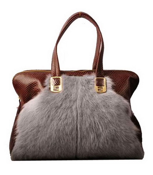 Fendi Grey Wool With Coffee Snake Veins Leather Tote Bag