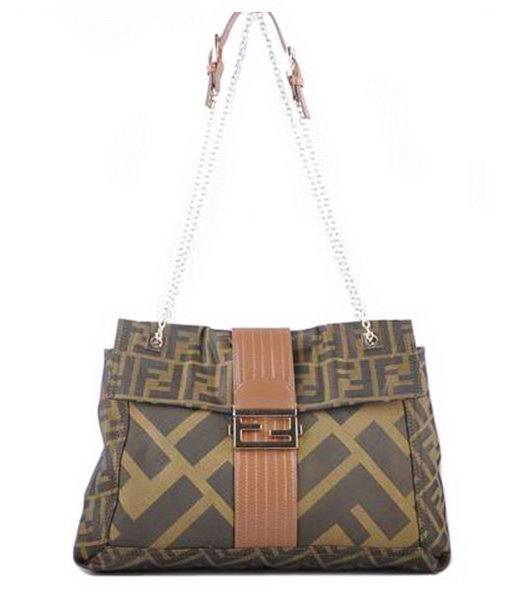 Fendi Maxi Baguette Shoulder Bag F Fabric with Earth Yellow Leather