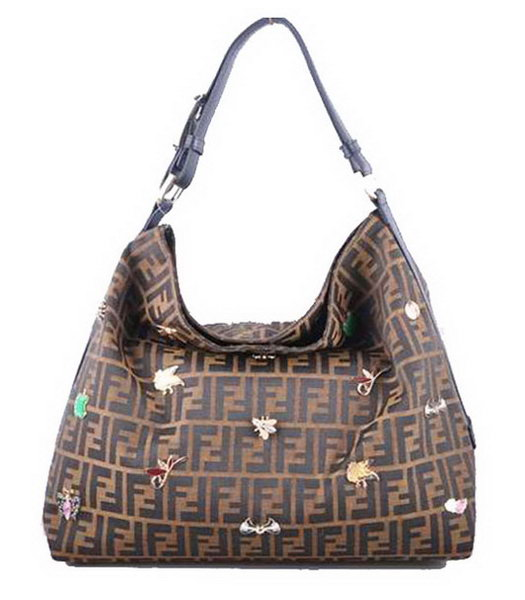 Fendi F Fabric With Large Black Leather Trim Hobo Bag