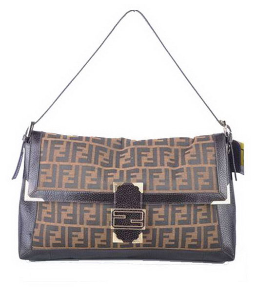 Fendi Forever Mamma Baguette Bag F Fabric with Coffee Caviar Leather