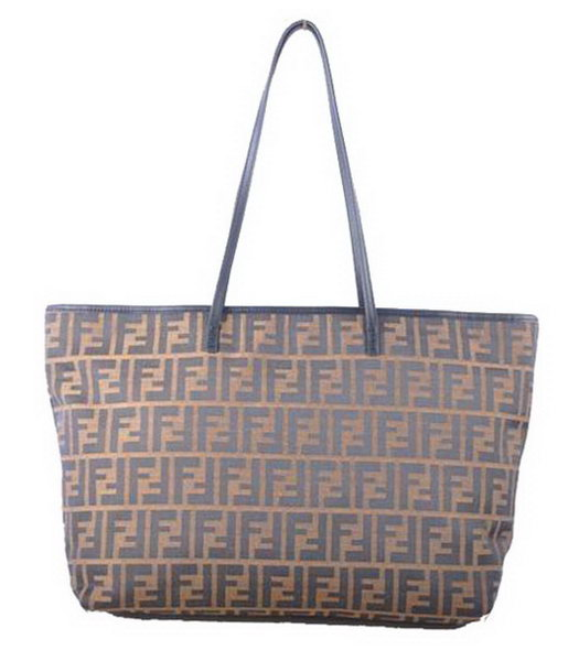 Fendi F Fabric with Black Leather Shoulder Bag
