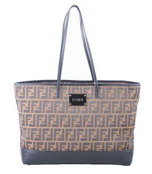 Fendi F Fabric With Black Leather Shoulder Bag -1