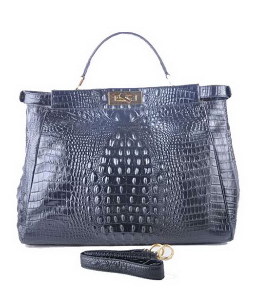 Fendi Peekaboo Black Croc Veins Leather Large Tote Bag