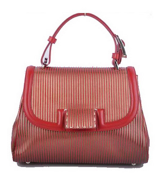 Fendi Red Stripe Leather Top Handle Bag