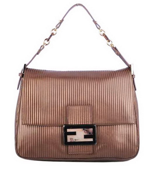 Fendi Forever Mama Shoulder Bag With Coffee Stripe Leather