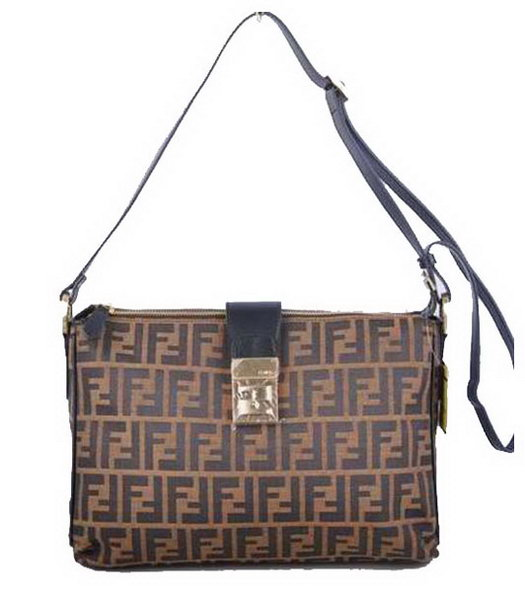 Fendi Zucchino Spalmati F Fabric With Black Leather Shoulder Bag