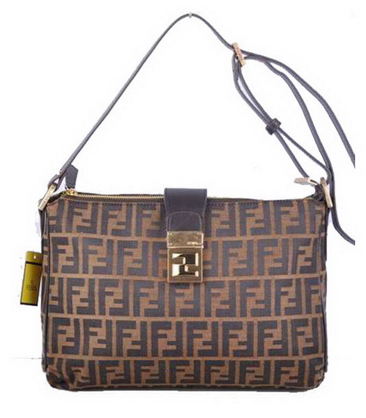 Fendi Zucchino Spalmati F Fabric With Coffee Leather Shoulder Bag