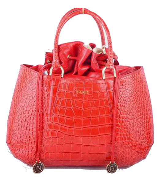 Fendi Large Red Croc Veins Leather Tote Bag